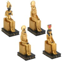 Egyptian Seated Gods 4 Piece Statue Set