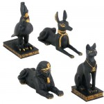 Egyptian Animal God 4 Piece Statue Set