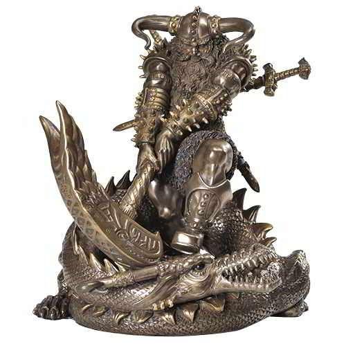 Thor, Norse God Slaying Dragon Statue